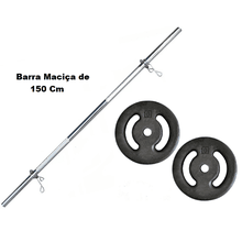 Kit Barra Maciça Recartilhada 150 Cm Com 20 Kg de ... - KLMASTERFITNESS