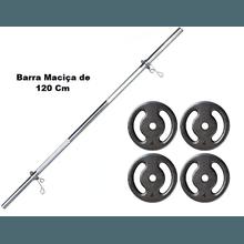 Kit Barra Maciça Recartilhada 120 Cm Com 16 Kg de ... - KLMASTERFITNESS