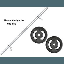 Kit Barra Maciça Recartilhada 180 Cm Com 20 Kg de ... - KLMASTERFITNESS