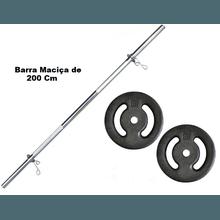 Kit Barra Maciça Recartilhada 200 Cm Com 20 Kg de ... - KLMASTERFITNESS