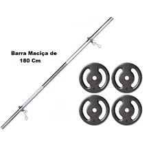 Kit Barra Maciça Recartilhada 180 Cm Com 16 Kg de ... - KLMASTERFITNESS