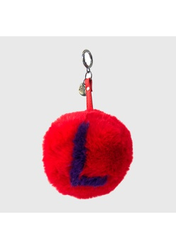 Chaveiro de Pompom Com Desenho da Letra L do Alfabeto