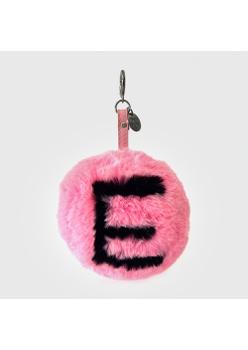 Chaveiro de Pompom Com Desenho da Letra E do Alfabeto