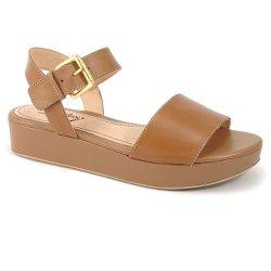 Sandália Anabela Confort em Couro - Marrom - VP102022 - Pé Relax Sapatos Confortáveis