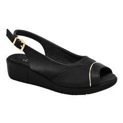 Sandália Feminina Para Joanete - Preto Metalizado - MA585013P - Pé Relax Sapatos Confortáveis