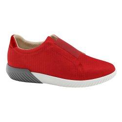 Tênis Casual Feminino - Vermelho - MA633010V - Pé Relax Sapatos Confortáveis