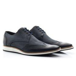 Sapato Brogue Masculino Azul - BI516A - Pé Relax Sapatos Confortáveis