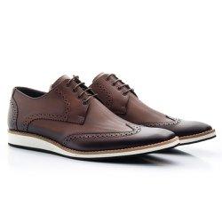 Sapato Brogue Masculino Marrom - BI516M - Pé Relax Sapatos Confortáveis