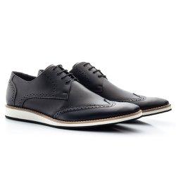 Sapato Brogue Masculino Preto - BI516P - Pé Relax Sapatos Confortáveis