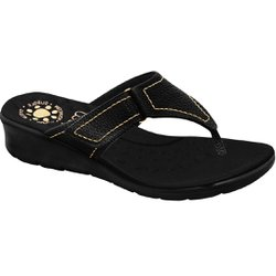 Chinelo Confort Feminino - Preto - MA10007NPT - Pé Relax Sapatos Confortáveis