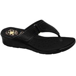 Chinelo Feminino para Pés Largos e Inchados - Preto - MA10007NPTP - Pé Relax Sapatos Confortáveis
