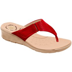 Chinelo Feminino para Pés Largos e Inchados - Vermelho - MA10007NVM - Pé Relax Sapatos Confortáveis