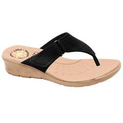 Chinelo Confort Feminino - Preta - MA10007NP - Pé Relax Sapatos Confortáveis
