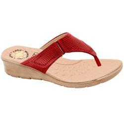 Chinelo Confort Feminino - Vermelho - MA10007NV - Pé Relax Sapatos Confortáveis