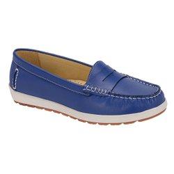 Mocassim Feminino em Couro Legítimo - Azul - SE4000016A - Pé Relax Sapatos Confortáveis