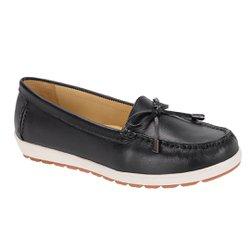 Mocassim Feminino em Couro Legítimo - Preto - SE400201P - Pé Relax Sapatos Confortáveis