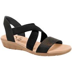 Sandália Confort Feminina - Preto Lezard - MA10062CPT - Pé Relax Sapatos Confortáveis