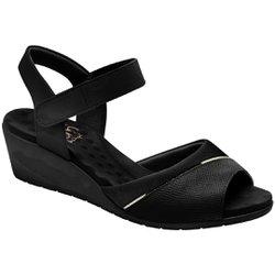Sandália Anabela Saltinho - Preto - MA206050P - Pé Relax Sapatos Confortáveis