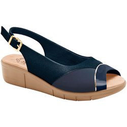 Sandália Feminina Para Joanete - Cobra Azul - MA585013AM - Pé Relax Sapatos Confortáveis