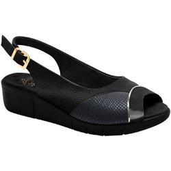 Sandália Feminina Para Joanete - Preta / Lycra Snake - MA585013PT - Pé Relax Sapatos Confortáveis