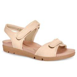Sandália para Idosa - Off White Praia - CAL5922PR - Pé Relax Sapatos Confortáveis