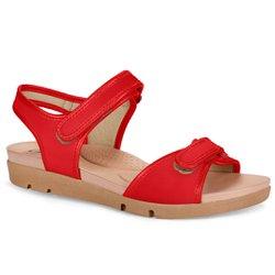 Sandália para Idosa - Vermelha - CAL5922VM - Pé Relax Sapatos Confortáveis