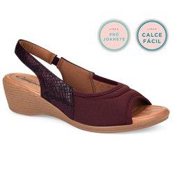 Sandália Confort Joanete - Bordô Cabernet - CAL6624CB - Pé Relax Sapatos Confortáveis