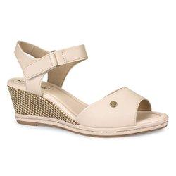 Sandália Anabela Salto Baixo - Creme - CAL7031CR - Pé Relax Sapatos Confortáveis