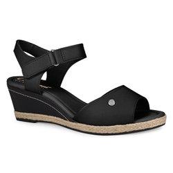 Sandália Anabela Salto Baixo - Preta - CAL7031PT - Pé Relax Sapatos Confortáveis