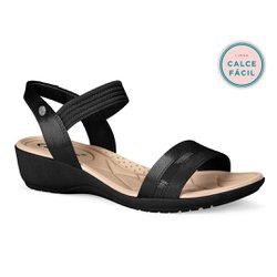 Sandália Anabela Confort - Preta - CAL7083PT - Pé Relax Sapatos Confortáveis