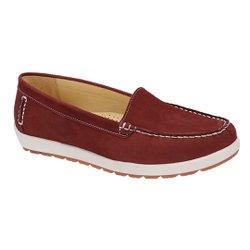 Mocassim Feminino em Couro - Suede Vinho - SE4003SV - Pé Relax Sapatos Confortáveis