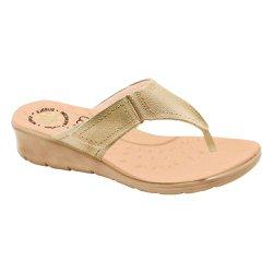 Chinelo Confort Feminino - Champagne - MA10007NC - Pé Relax Sapatos Confortáveis