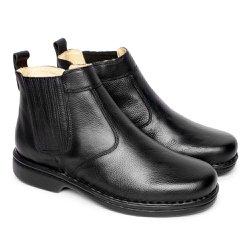 Bota em Couro Tamanho Grande - Preta - FB690P - TG - Pé Relax Sapatos Confortáveis