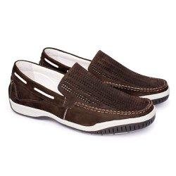 Mocassim Masculino Nobuck Tamanho Grande - Marrom - FB6008M - TG - Pé Relax Sapatos Confortáveis