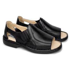 Sandália de Couro Masculina Fechada Tamanho Grande - Preta - FB651P - TG - Pé Relax Sapatos Confortáveis