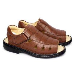 Sandália Masculina em Couro Conforto Tipo Anti Estresse - Chocolate - FB65902CH - Pé Relax Sapatos Confortáveis