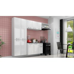 Kit Cozinha Compacta Itatiaia Rose 10 Portas e 1 Gavetas Branco/Branco
