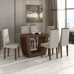 Mesa com 6 cadeiras Lopas Agnes 100% MDF Imbuia Soft com tampo de vidro 1,60m