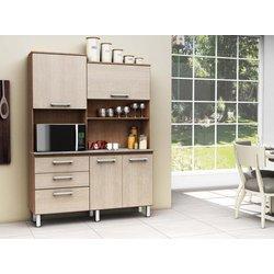 Kit Cozinha Compacta Batrol Inovare Carla 4 Portas e 3 Gavetas Noce Escuro/Noce Claro