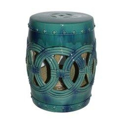 Garden / Tamborete Rivatti Akita em Cerâmica Azul