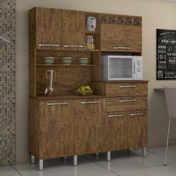Kit Cozinha Compacta Valdemóveis Monte Rey 7 Portas e 2 Gavetas Ipê/Ipê