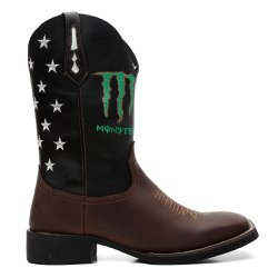 Bota texana Monster Preto com Café