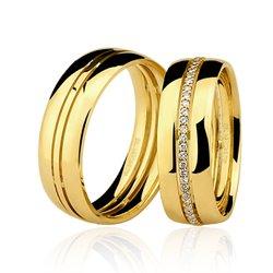 Aliança Trabalhada em Ouro 18k com 7 mm de Largura Com Diamantes Anatômica