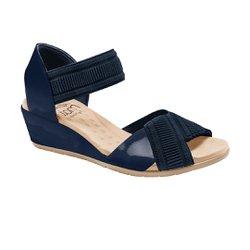 Sandália Anabela Comfort - Azul - MA206045 - Pé Relax Sapatos Confortáveis