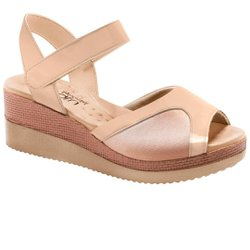 Sandália Anabela para Joanete - Verniz Bege - MA581025VB - Pé Relax Sapatos Confortáveis