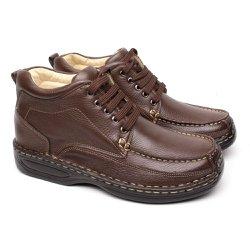Bota Masculina Couro - Marrom - FB16020M - Pé Relax Sapatos Confortáveis