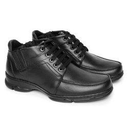 Botinha Masculina Couro - Preta - FB2093P - Pé Relax Sapatos Confortáveis