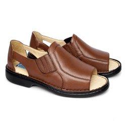 Sandália de Couro Masculina Fechada Tamanho Grande - Marrom - FB651M - TG - Pé Relax Sapatos Confortáveis