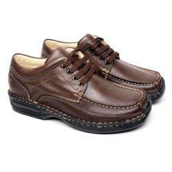 Sapato Masculino Casual Anti Stress - Marrom - FB16000M - Pé Relax Sapatos Confortáveis