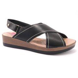 Sandália Feminina Comfort Malu - Preta - MA537014 - Pé Relax Sapatos Confortáveis